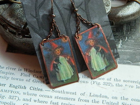 Victorian Cute Little Witch earrings mixed medium jewelry metal paper Sarah Wood Halloween