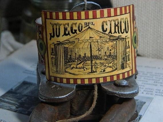 Victorian Circus cuff bracelet Juego Del Circo mixed media jewelry Halloween