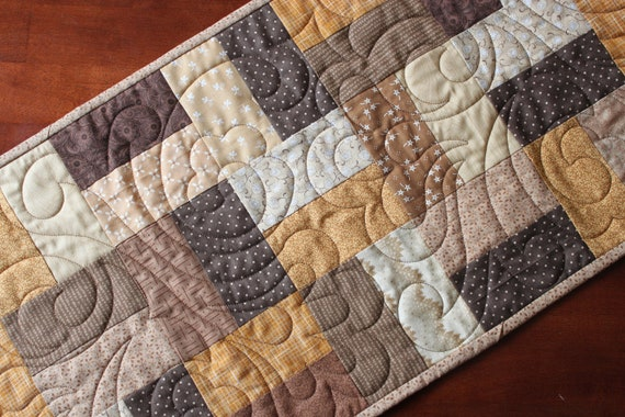 Quilted Brown, Tan & Gold Table Runner