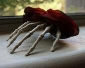 Red Rose Skeleton Hand Hair Clip