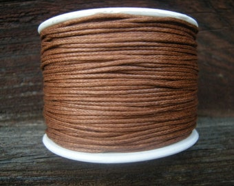 Chocolate brown cotton wax cord, 1mm, light brown wax cotton cord 1mm, 5m (16 ft)