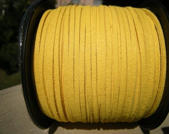 5m Yellow faux suede cord, 3mm wide, Yellow faux suede cord for bralelets, necklaces etc. 3mm, 5m (16 ft)