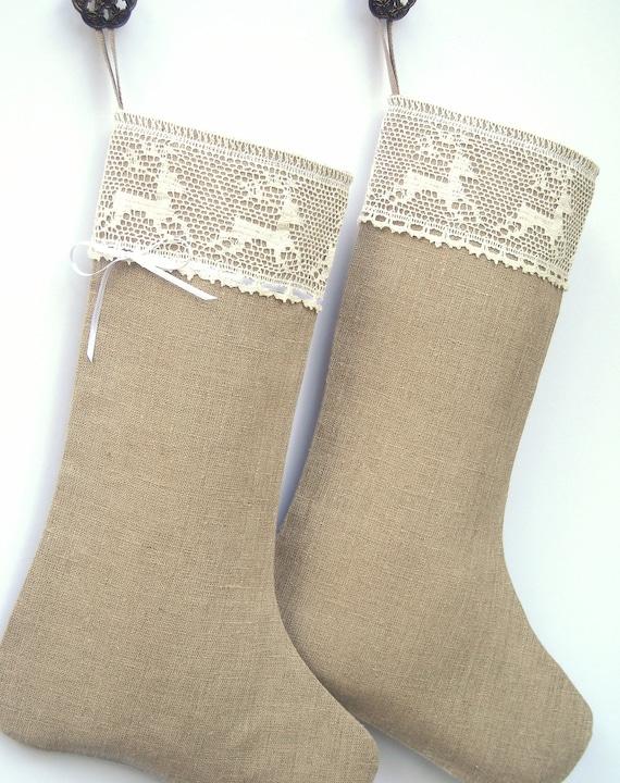 Scandinavian Christmas stocking - Linen Burlap stocking - RESERVED