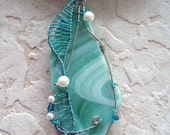 "Kumihimo ""Sea Glass""  Wire Wrapped Necklace"