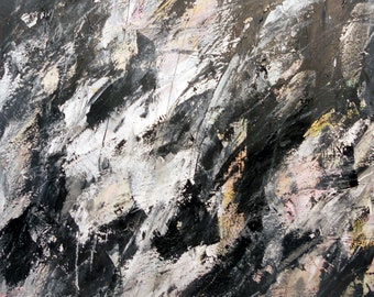 7-15-12 two (abstract expressionist painting, black, white, gray, cream,  silver)X