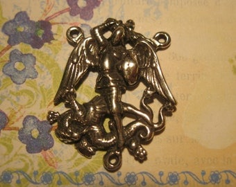 Sterling Silver St. Michael the Archangel Rosary Center Link