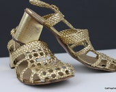 Sale Gold Weaved Leather Sling Back Heels Made in Italy 6.5