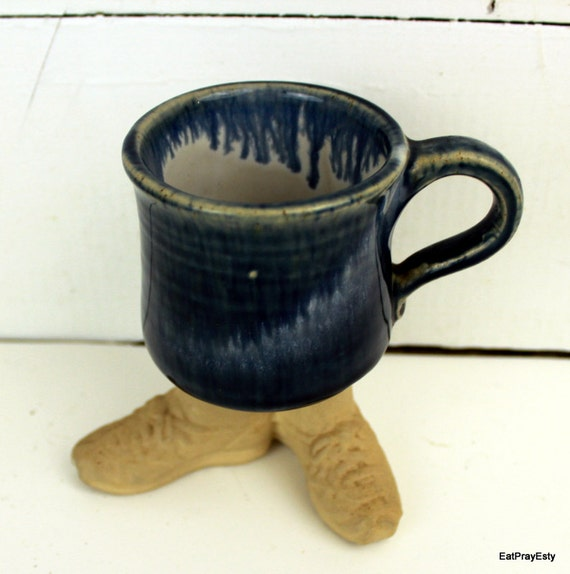Vintage 1980 Footed Pottery Mug  Dont Let This One Walk Away