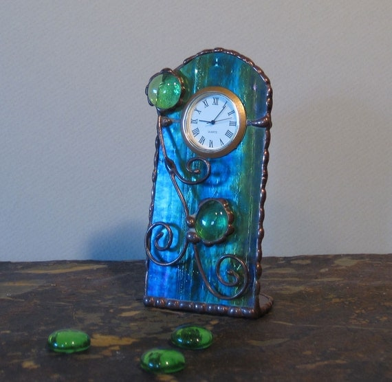 Unique Stained Glass Desk Clock, Blue, Green, Purple and Gold Iridescent, Gift