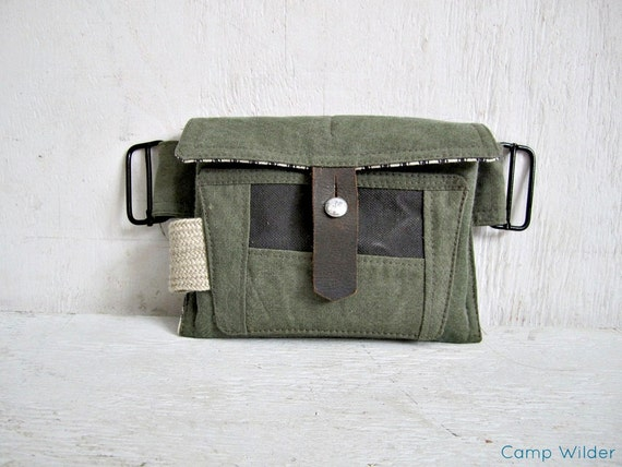Camping Wallet oversized rugged vintage military canvas repurposed green army