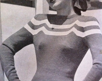"40s design ""Tres Belle"" - sophisticated Australian  knitting epattern b33 b34 b35 b36- modern wave design"