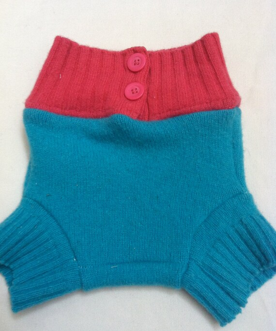 Medium Teal and Pink High Rise Upcycled Wool Shorties
