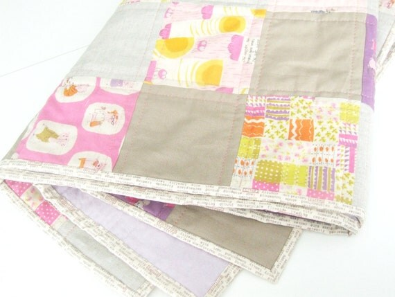 Pink  and Purple Quilt - Heather Ross Nursery Versery Quilt - Baby Girls Crib Quilt - Linen Quilt