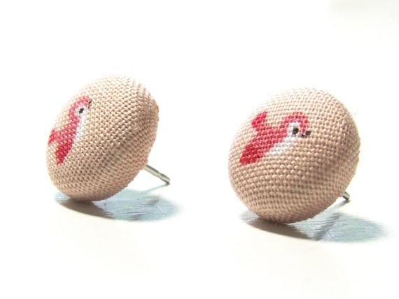 Bird Earrings Bird Jewelry Pink Earrings