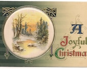 Ca. 1910 Embossed Christmas Greeting Postcard w/ Winter Snow Scene - 784