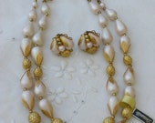 Deauville Pink and Gold Necklace and Earring Set