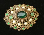 Brooch - Green Stones and Pearls - Vintage