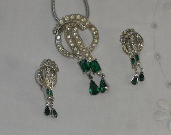 Pendant and Earrings - Coro - Rhinestones - Vintage