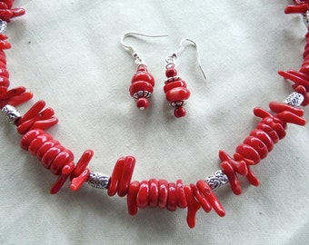 20 Inch Red Coral Rondelle and Branch Necklace and Earrings
