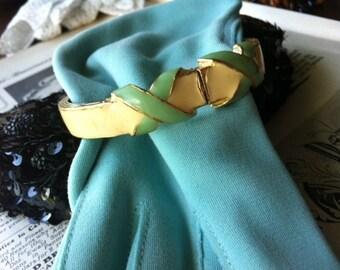 Vintage Hill Green Yellow Enamel Bangle Bracelet Maybe David