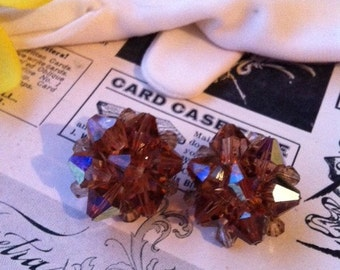 Vintage Gold Tone Brown AB Crystal Glass Clip On Earrings