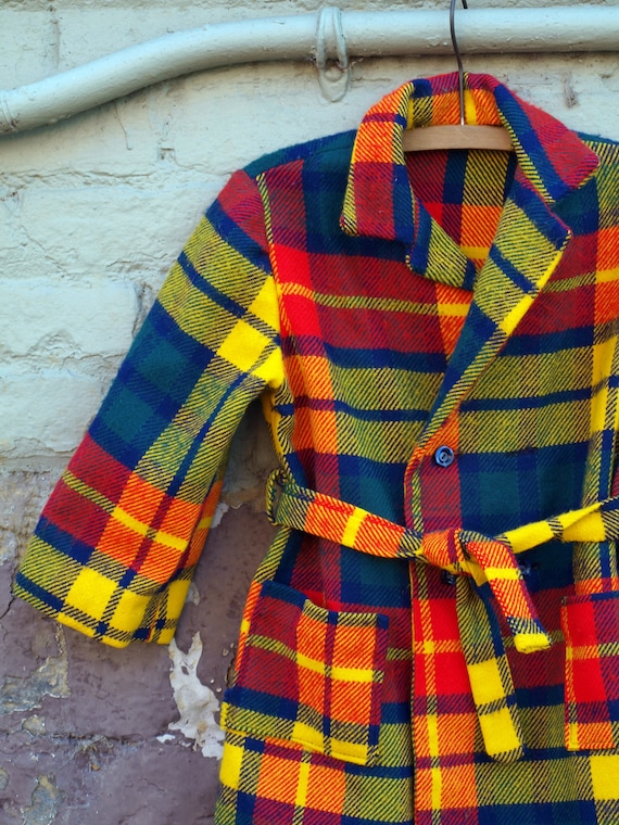 vintage double breasted light weight flannel coat in bright orange yellow navy