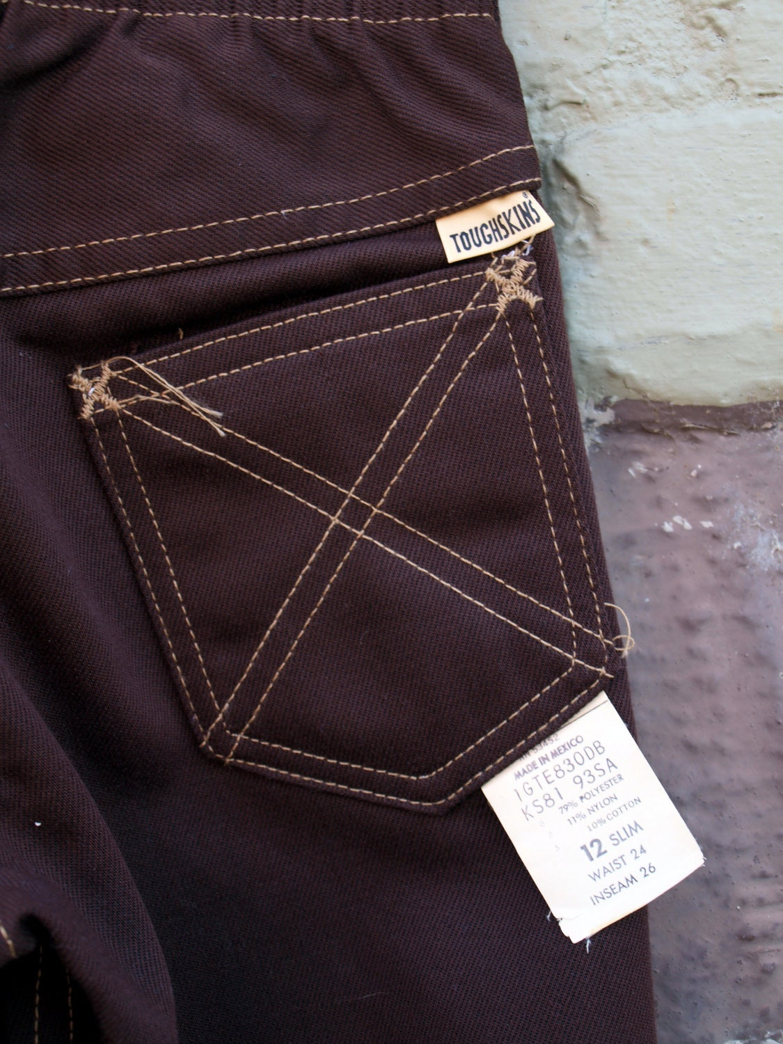 Vintage Deadstock Sears Toughskins Chocolate Brown Jeans Size