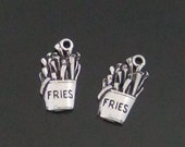 4 - French Fries Charms - 4 Charms - BG102 ZB Silver Alloy