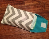 Diaper and Wipe Clutch - Gray and Turquoise