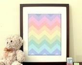 "8""x10"" Printable Art - ""Pastel Chevron Rainbow"" - Fun, colorful print for children's playroom or nursery art - Instant Download"