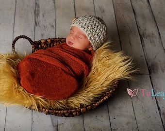 Newborn Chunky Oatmeal Tweed Crochet Hat With Natural Wood Button Boys Photo Prop