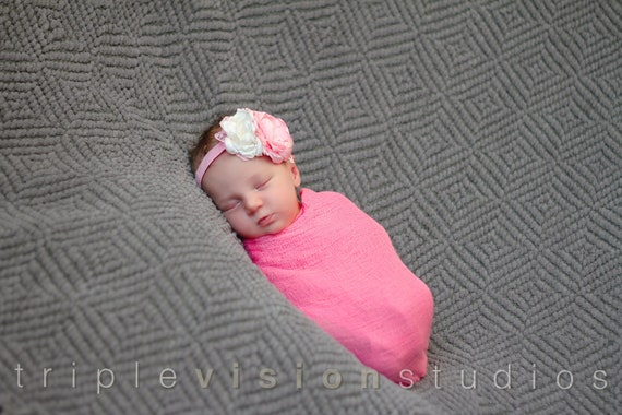Baby Pink Newborn Cheesecloth Wrap Photography Prop Hand Dyed 3 ft x 6 ft RTS