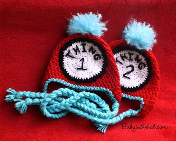 Newborn Twins Thing 1 and Thing 2  Dr Seuss Hat Boys or Girls Red and Blue Crochet Hat Photo Prop Set