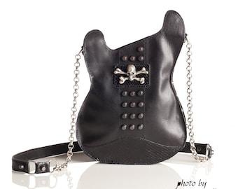 Leather purse.  Handmade Eco Sustainable Leather Bag. Black Studded Guitar Shaped Bag. Strato Bag. Skull Purse. Crossbody bag. Ready to ship