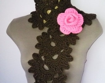 Crochet SCARF/ NECKWARMER with Crochet Flower Brooch women brown pink, шарф, sjaal, bufanda, cachecol, sciarpa, Schal, foulard, echarpe