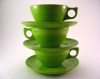 Coloramic Modern Dinnerware By Melmac Cups and Saucers Speckled Lime Green Set of 3 Glamping Dishes