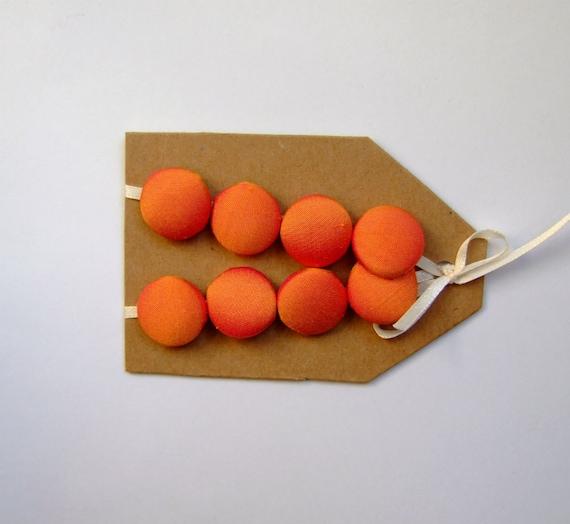 orange silk buttons, 5/8 inch size