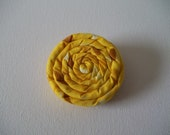 """COIL Blossom Coiled Fabric Flower Hair Accessory Clip 2.5"""" YELLOW Tiny Print"""