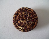 """Coil Blossom Coiled Fabric Flower Hair Accessory Clip 2.25"""" in Leopard Animal Print Brown"""