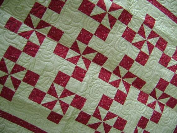 Red & Cream Baby Nursery Crib Blanket Lap Comforter Quilt Wallhanging