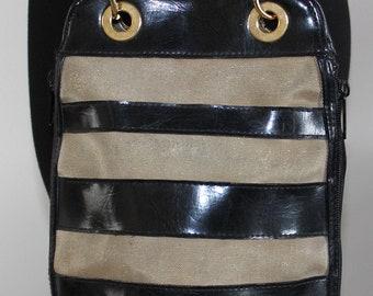 Vintage 1980's Color Block Gold Black Mesh Shoulder Crossbody Bag
