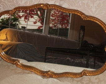 1930's Art Deco Heavy Vintage Gold Scalloped Mirror Atsonea Made in England