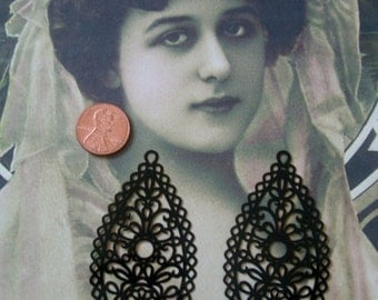 Laser Lace Filigree Findings, Black Plated (2)