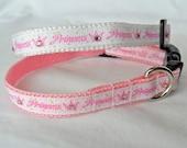 Princess Cat Collar - small dog collar, pink cat collar, bling, adjustable, small or medium