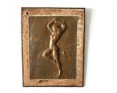 Vintage Wall Art // Copper Pin Up // Boho Dancer Decor // Burlesque Girl // Outsider Art // Pressed Copper Relief