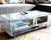 Repurposed Lucite Coffee Table - upcycle, recycle, aquarium, acrylic, plastic, terrarium, modern, media console, tv stand