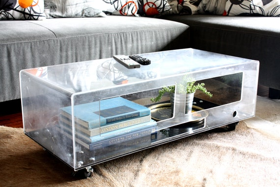 Repurposed Lucite Coffee Table - upcycle, recycle, aquarium, acrylic, plastic, terrarium, modern, media console, tv stand
