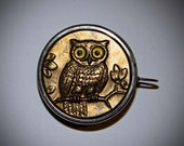 Antique German Glass Eye Owl Tape Measure High Relief Gold Brass