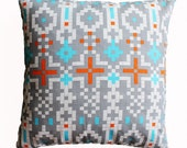CLEARANCE SALE!!!  Tribal Aztec Gray Pillow Cover - 18 x 18 Decorative Pillow Cover
