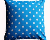 CLEARANCE SALE!!! PAIR of Turquoise Polka Dotted Pillow Cover - 18 x 18 Decorative Pillow Cover